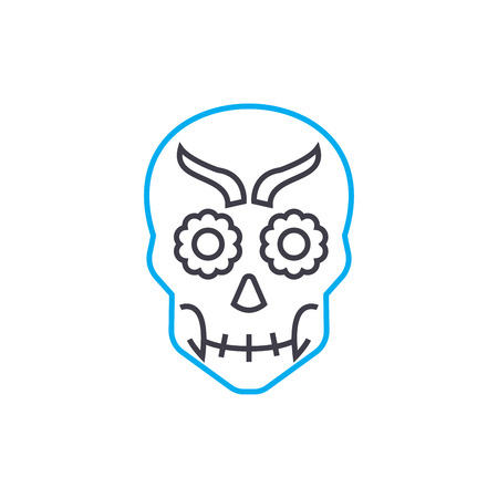 Skull mask line icon, vector illustration. Skull mask linear concept sign.