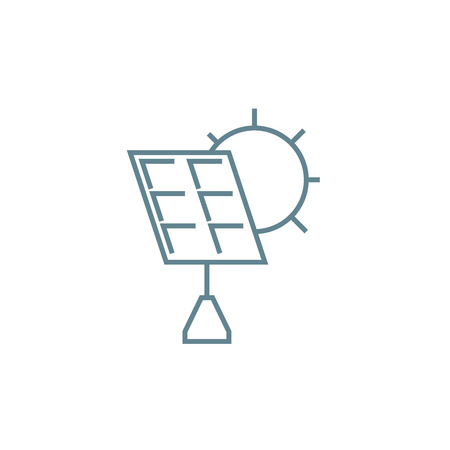 Solar panels line icon, vector illustration. Solar panels linear concept sign. 向量圖像