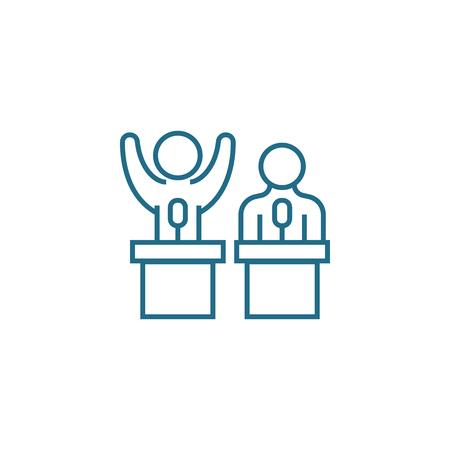 Team building line icon, vector illustration. Team building linear concept sign. 向量圖像