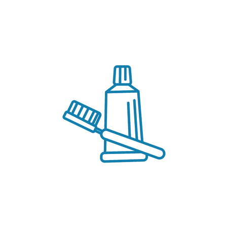 Teeth cleaning line icon, vector illustration. Teeth cleaning linear concept sign. Standard-Bild - 101976076