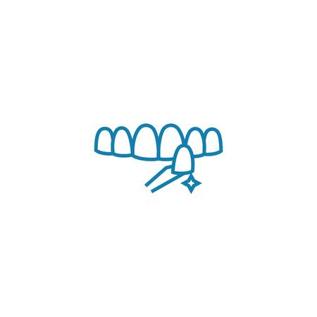 Teeth whitening line icon, vector illustration. Teeth whitening linear concept sign. Illustration