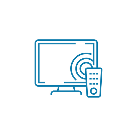 Television technology line icon, vector illustration. Television technology linear concept sign.