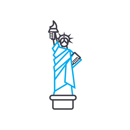 The statue of liberty line icon, vector illustration. The statue of liberty linear concept sign.