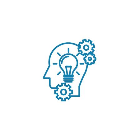 Thinking process line icon, vector illustration. Thinking process linear concept sign.
