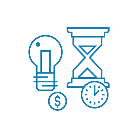 Terms of project implementation line icon, vector illustration. Terms of project implementation linear concept sign. Banque d'images - 102032319