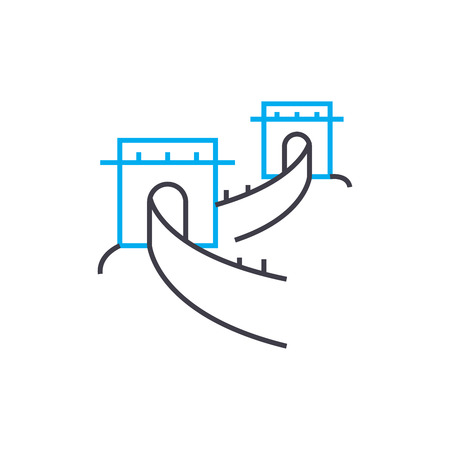 The great wall of china line icon, vector illustration. The great wall of china linear concept sign. Illustration