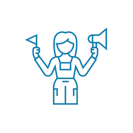 Tourist guide line icon, vector illustration. Tourist guide linear concept sign.