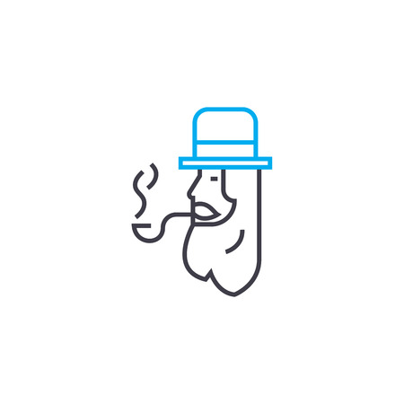 Tube smoking line icon, vector illustration. Tube smoking linear concept sign.