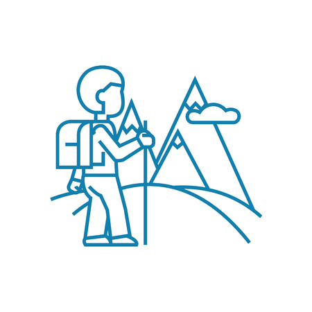 Trip to the mountains line icon, vector illustration. Trip to the mountains linear concept sign.