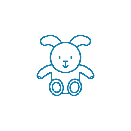 Toy hare line icon, vector illustration. Toy hare linear concept sign. 向量圖像