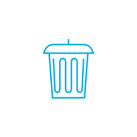 Trash can line icon, vector illustration. Trash can linear concept sign.