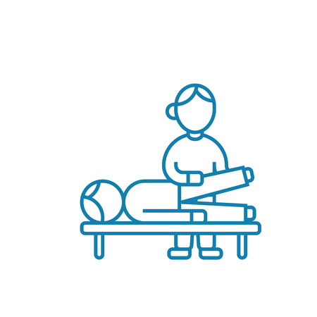 Traumatological examination line icon, vector illustration. Traumatological examination linear concept sign.