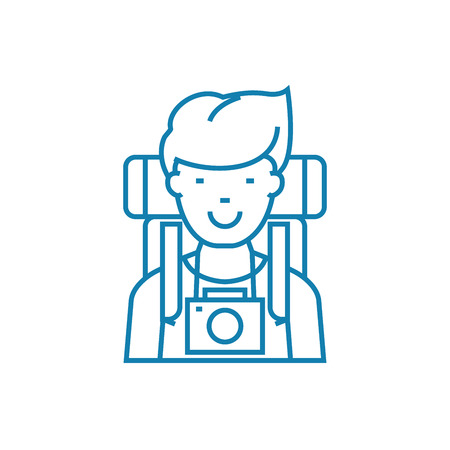 Traveler line icon, vector illustration. Traveler linear concept sign.