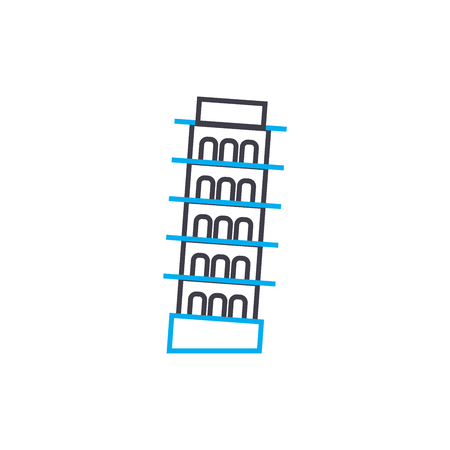Tower in pisa line icon, vector illustration. Tower in pisa linear concept sign.  イラスト・ベクター素材