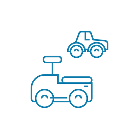 Toy cars line icon, vector illustration. Toy cars linear concept sign. Foto de archivo - 101976093