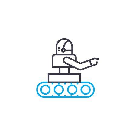 Use of robots line icon, vector illustration. Use of robots linear concept sign.