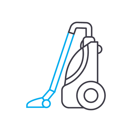 Vacuum cleaning line icon, vector illustration. Vacuum cleaning linear concept sign.