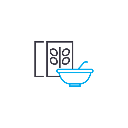 Vegetarian dish line icon, vector illustration. Vegetarian dish linear concept sign.