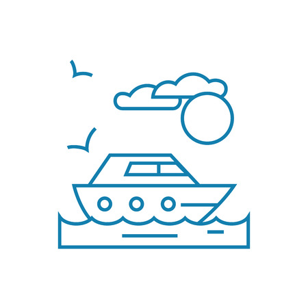 Walk on the yacht line icon, vector illustration. Walk on the yacht linear concept sign.