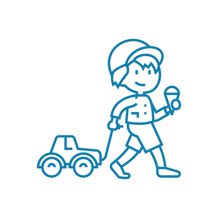 Walking in the city line icon, vector illustration. Walking in the city linear concept sign. Illustration
