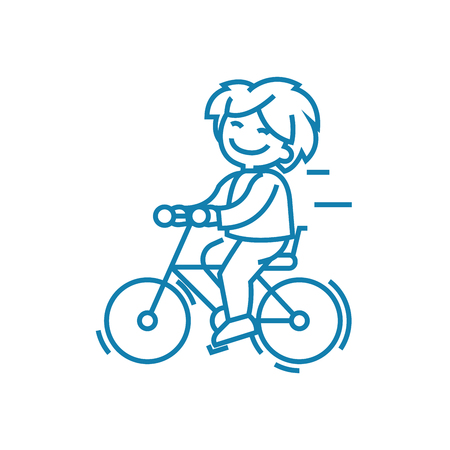 Walking on the bike line icon, vector illustration. Walking on the bike linear concept sign.