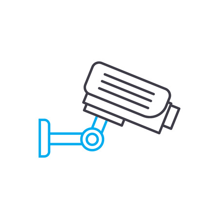 Video surveillance system line icon, vector illustration. Video surveillance system linear concept sign. Stock Illustratie