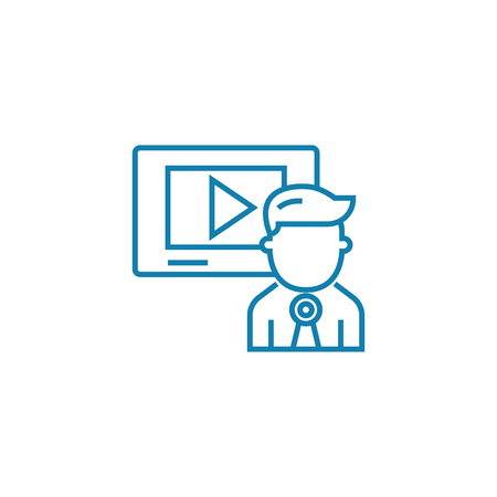 Video presentation line icon, vector illustration. Video presentation linear concept sign. Stock Vector - 101976105
