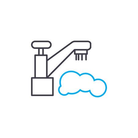 Washing dishes line icon, vector illustration. Washing dishes linear concept sign. Illustration