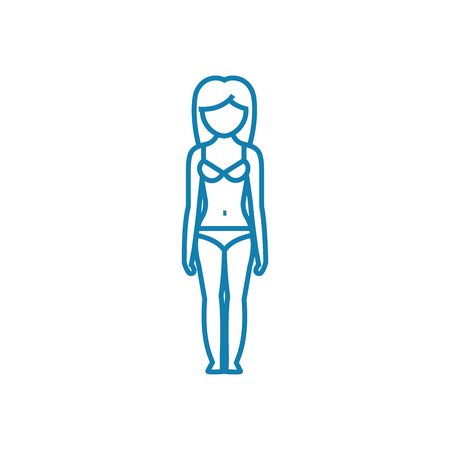 Watching the figure line icon, vector illustration. Watching the figure linear concept sign.