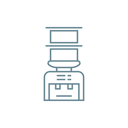 Water dispenser line icon, vector illustration. Water dispenser linear concept sign.  イラスト・ベクター素材