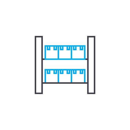 Warehousing work line icon, vector illustration. Warehousing work linear concept sign.