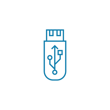 Usb stick line icon, vector illustration. Usb stick linear concept sign.