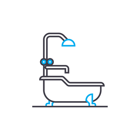 Water procedures line icon, vector illustration. Water procedures linear concept sign. Çizim