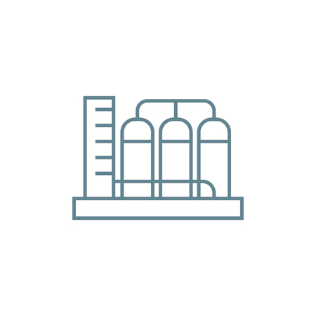 Water pump station line icon, vector illustration. Water pump station linear concept sign.  イラスト・ベクター素材