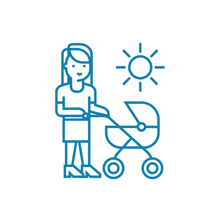 Walking with mom line icon, vector illustration. Walking with mom linear concept sign. Archivio Fotografico - 102010055