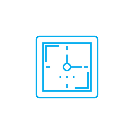 Wall clock line icon, vector illustration. Wall clock linear concept sign.