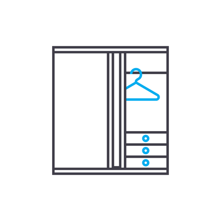 Wardrobe closet line icon, vector illustration. Wardrobe closet linear concept sign.