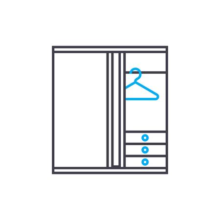 Kledingkast kast lijn pictogram, vectorillustratie. Garderobe kast lineaire concept teken.