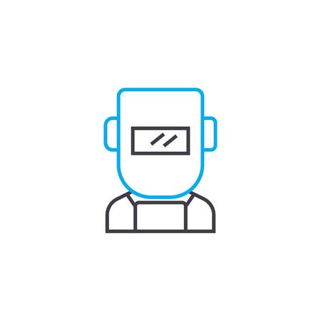Welder mask line icon, vector illustration. Welder mask linear concept sign.