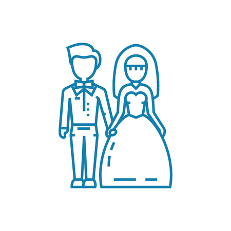 Wedding ceremony line icon, vector illustration. Wedding ceremony linear concept sign. Foto de archivo - 102006337