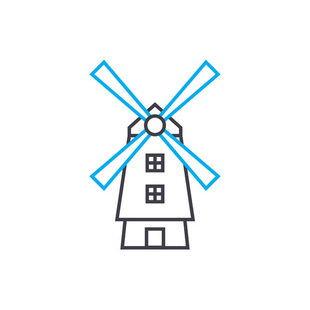 Windmill line icon, vector illustration. Windmill linear concept sign. Stok Fotoğraf - 101976186