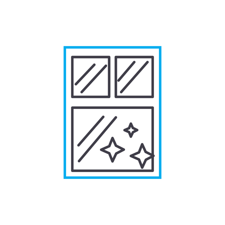 Window cleaning line icon, vector illustration. Window cleaning linear concept sign. Standard-Bild - 102032344