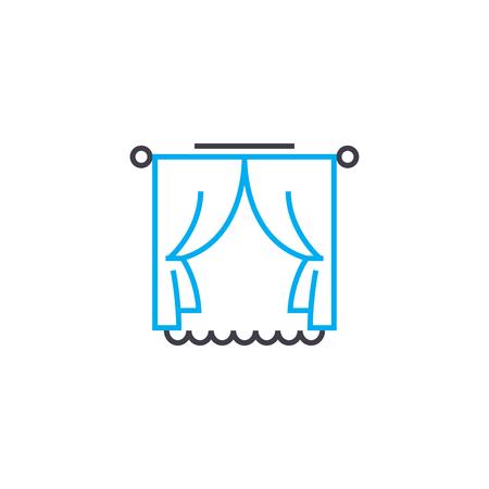 Window curtains line icon, vector illustration. Window curtains linear concept sign. Ilustração
