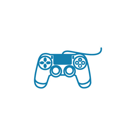 Wired gamepad line icon, vector illustration. Wired gamepad linear concept sign.