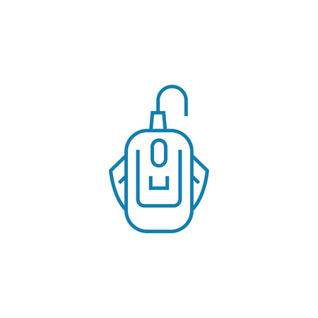 Wired mouse line icon, vector illustration. Wired mouse linear concept sign. 向量圖像