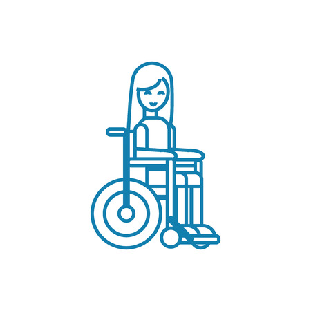 Wheelchair invalid line icon, vector illustration. Wheelchair invalid linear concept sign.
