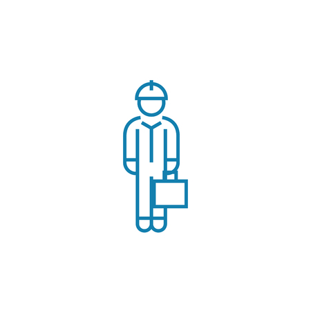 White collar line icon, vector illustration. White collar linear concept sign. 向量圖像