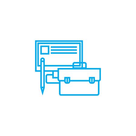 Accessoires de travail ligne d & # 39 ; accessoires illustration vectorielle . travail de travail linéaires signe concept Banque d'images - 102006403