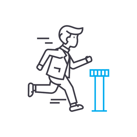 Work at an accelerated pace line icon, vector illustration. Work at an accelerated pace linear concept sign. Banque d'images - 101976190