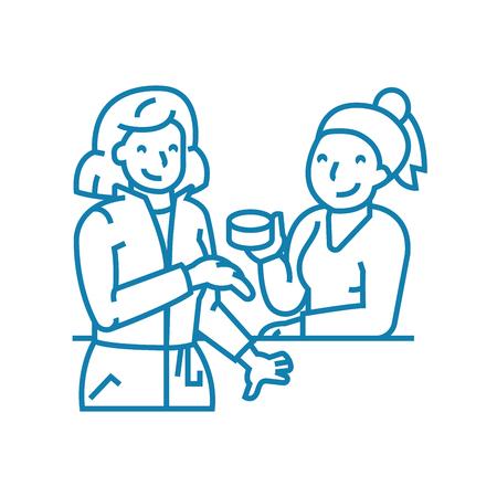 Work gossip line icon, vector illustration. Work gossip linear concept sign.